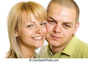 heureux, jeune homme, et, position femme, ensemble