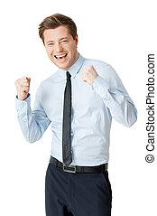heureux, jeune, isolé, businessman., faire gestes, réussi, homme, match nul chemise, position souriante, quoique, blanc
