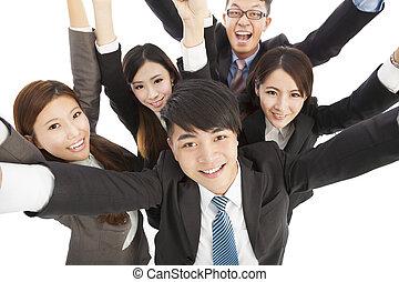 heureux, jeune, reussite, equipe affaires, augmentation, mains