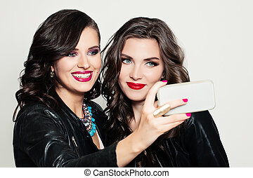 heureux, jeune, women., selfie., mode, portrait