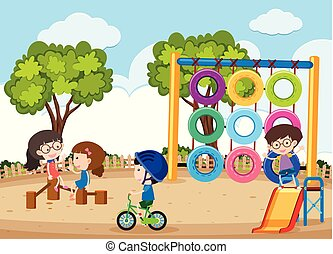 heureux, jouer, enfants, cour de récréation