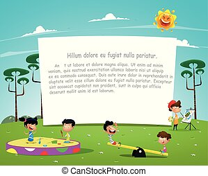 heureux, jouer, enfants, illustration, cour de récréation