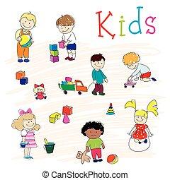 heureux, jouer, enfants