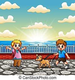 heureux, jouer, enfants, port maritime
