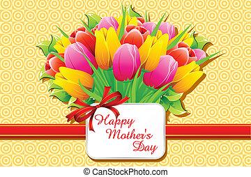 heureux, jour, carte, mère