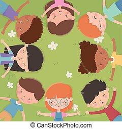 heureux, jour, champ, childrens, mensonge, herbe, gosses