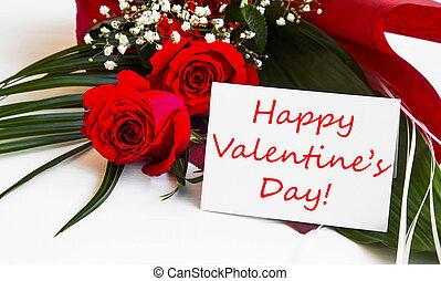 heureux, jour valentine, étiquette, à, roses rouges, bouquet