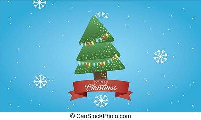 heureux, joyeux, arbre, pin, animation, noël