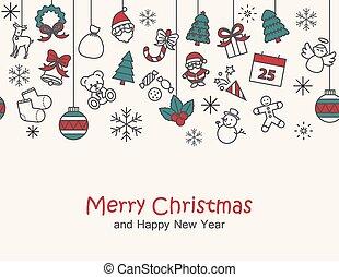heureux, joyeux, carte, impression, seamless, nouveau, noël, &, fond, année