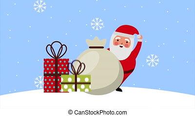 heureux, joyeux, claus, snowscape, animation, noël, santa