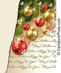 heureux, joyeux, nouveau, noël, &, année
