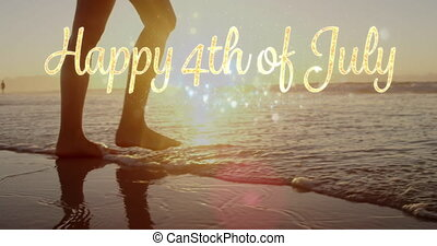 heureux, juillet, plage, 4k, femme, 4ème, salutation, marche