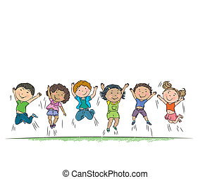 heureux, jumping., enfants
