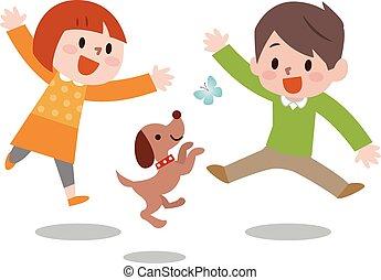 heureux, jumping., vecteur, illustration., enfants