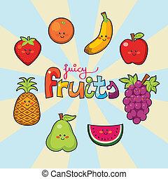 heureux, juteux, fruits