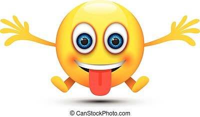 heureux, langue dehors, emoji