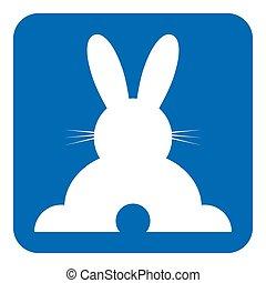 heureux, lapin, bleu, -, signe, blanc, icône, vue postérieure