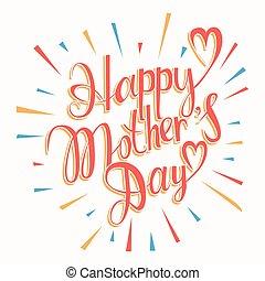 heureux, lettering., jour, mères