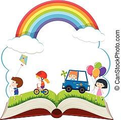 heureux, livre, parc, enfants jouer