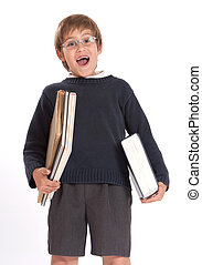 heureux, livres, écolier