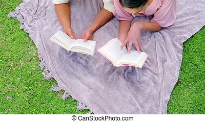 heureux, livres, couple, lecture
