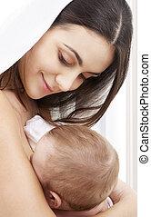 heureux, mère, à, bébé, chez soi