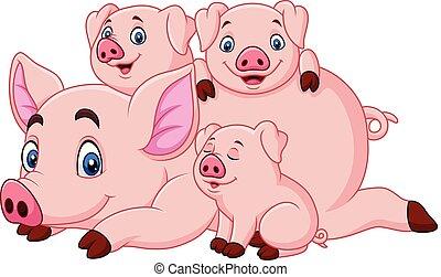 heureux, mère, porcelets, dessin animé, cochon