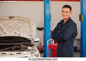 heureux, mécanicien, à, une, auto, magasin