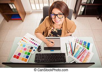 heureux, métier, concepteur, elle, aimer