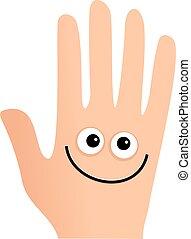 heureux, main