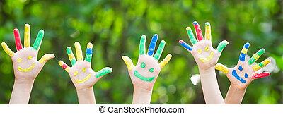 heureux, mains