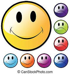 heureux, malheureux, faces