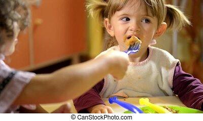 heureux, manger, enfants, prof