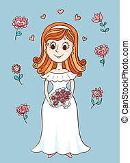 heureux, mariée, mignon