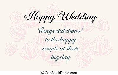 heureux, mariage, carte voeux, conception, style