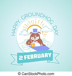 heureux, marmotte amérique, 2, février, calendrier, jour