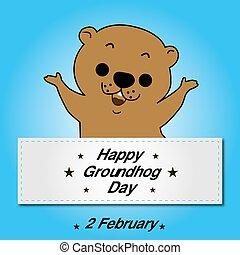 heureux, marmotte amérique, jour