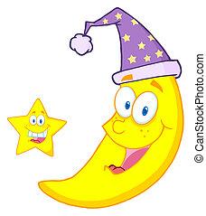heureux, mascotte, étoile, lune
