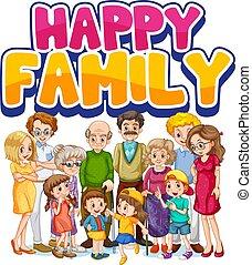 heureux, membre, famille, caractère