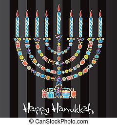 heureux, menorah, petit gâteau, hanukkah