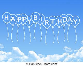 heureux, message, anniversaire, nuage, formé