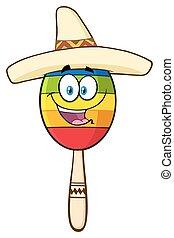 heureux, mexicain, coloré, maracas
