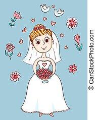 heureux, mignon, mariée