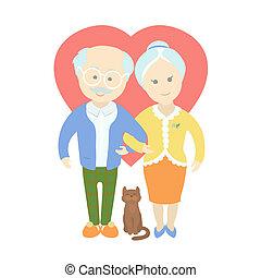 heureux, mignon, vieux, couple, -, grand-maman, et, papy