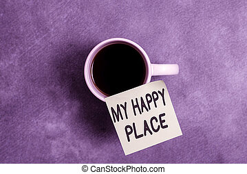 heureux, mon, papier, gentil, place., projection, a, vie affaires, sentir, arrière-plan., smartphone, satisfait, arrivé, showcasing, conceptuel, accessoires, ou, quelque chose, écriture, main, différent, ils, photo