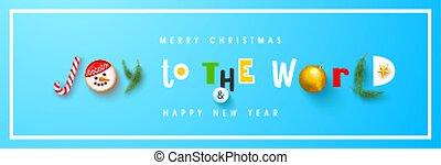 heureux, mondiale, affiche, balle, banner., sapin, noël, vecteur, inscription, nouvel an, joie, carte postale, snowball., site web, biscuits, horizontal, branches, joyeux, illustration
