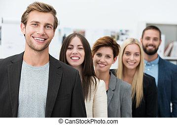 heureux, motivé, equipe affaires
