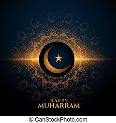 heureux, muharram, incandescent, étoile, lune, fond