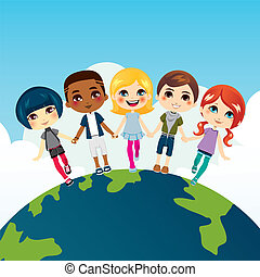 heureux, multi-ethnique, enfants