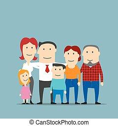 heureux, multigenerational, famille, dessin animé, portrait